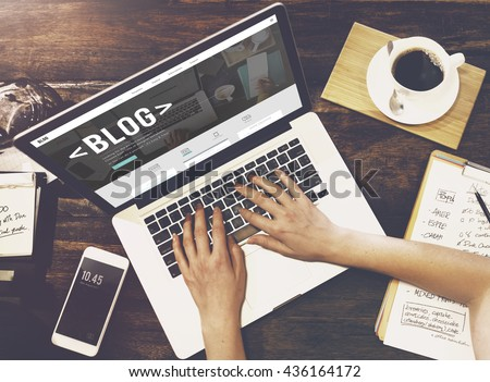 Blog Blogging Homepage Social Media Network Concept - stock photo