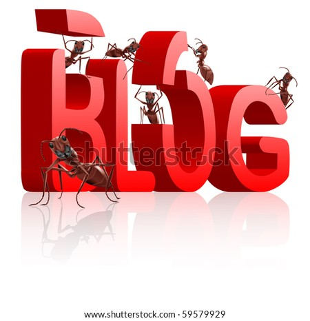 blog building ants as bloggers writing or building weblog in big 3D word - stock photo