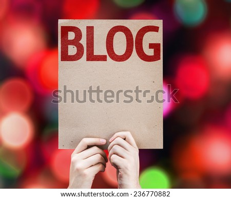 Blog card with colorful background with defocused lights - stock photo