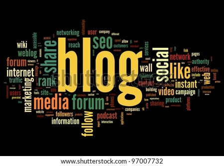 Blog concept in word tag cloud isolated on black background - stock photo