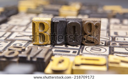 Blog in wooden typeset referring to an electronic web based log.  - stock photo