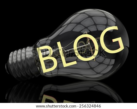Blog - lightbulb on black background with text in it. 3d render illustration. - stock photo