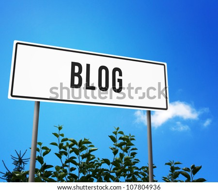 Blog on Road Sign - stock photo