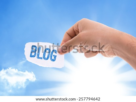 Blog piece of paper with sky background - stock photo