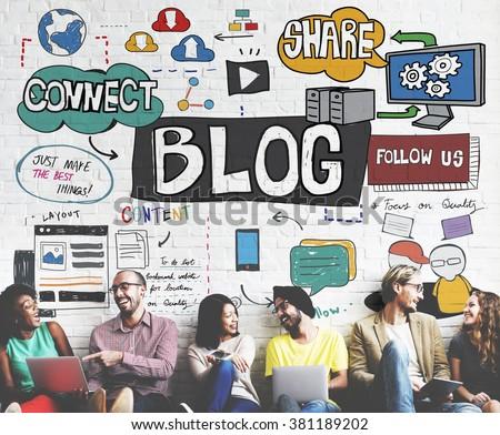 Blog Social Media Networking Content Blogging Concept - stock photo