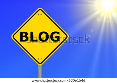 blog traffic sign showing internet or communication concept - stock photo