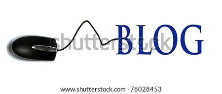 Blog word connected with pc mouse - stock photo