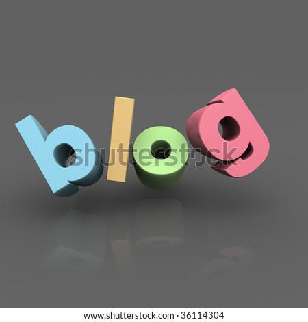 Blog word with reflection and grey background 3d illustration - stock photo