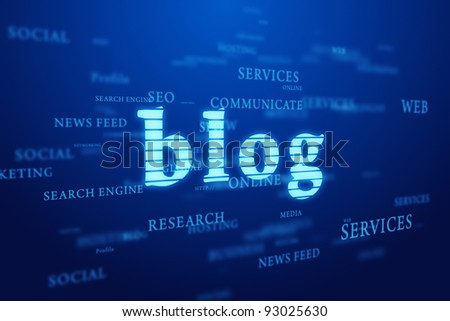 Blog. Words cloud on deep blue background. - stock photo