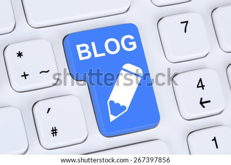 Blog writing social media online on the internet computer - stock photo