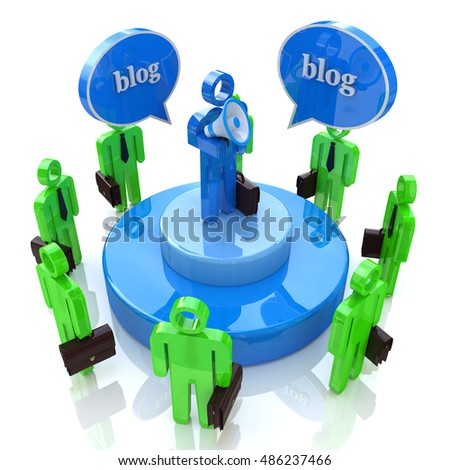 Blogger with Bullhorn and Audience in the design of the information associated with the communication on the Internet. 3d illustration
