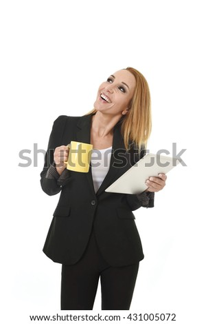 blond attractive businesswoman holding digital tablet pad wearing business suit smiling happy looking thoughtful and pensive isolated on white background - stock photo