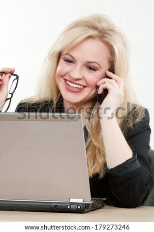 Blond attractive caucasian businesswoman