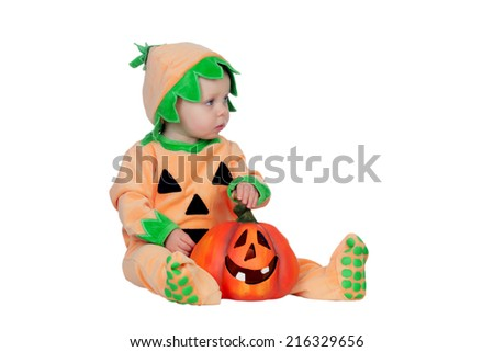 Blond baby in pumpkin suit isolated on a white background - stock photo