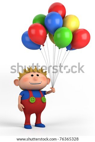 blond boy with balloons; high quality 3d illustration - stock photo