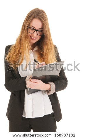 Blond business woman with glasses writing on clipboard isolated over white background