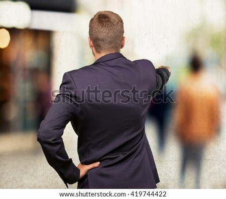 blond businessman angry expression - stock photo