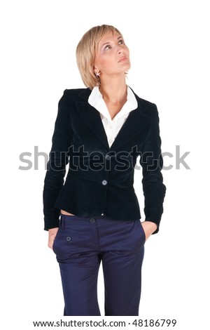 blond businesswoman thinking . Isolated over white background.