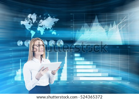 Blond businesswoman with a tablet is standing in a room full of holographic images. Double exposure. Elements of this image furnished by NASA