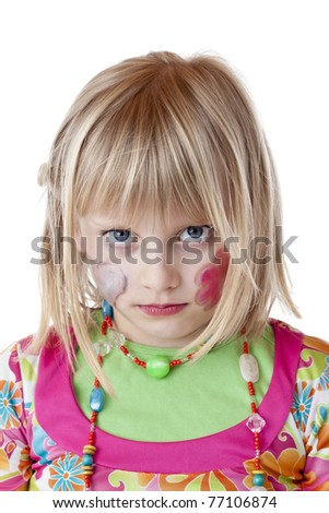 Blond disguised girl with painted cheeks looks serious.Isolated on white background. - stock photo