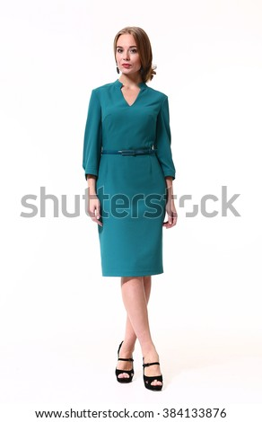 blond fashion business woman with up do hair in formal office blue dress high heels shoes standing full body portrait isolate on white - stock photo