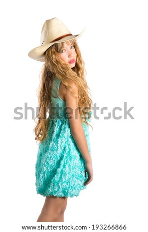 Blond fashion cowboy hat girl with turquoise dress posing on white background - stock photo