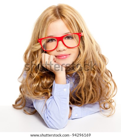 blond fashion kid girl with red glasses portrait isolated on white - stock photo
