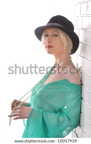 Blond Fashion Model with hat