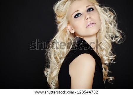 Blond Fashion Woman Portrait. Blonde Hair. Hairstyle - stock photo
