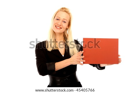 Blond female holding a red card
