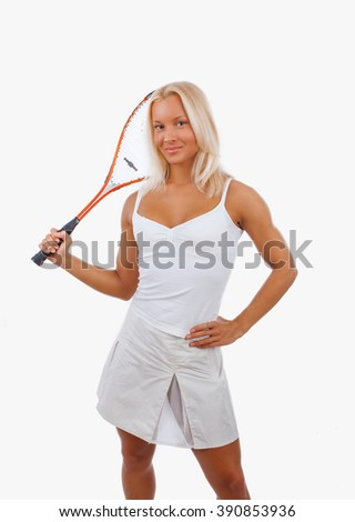 Blond female tennis player isolated on a white background.