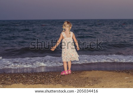 blond girl and sea image