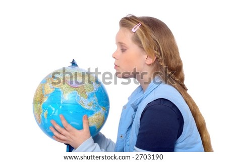 Blond girl holding a globe in her hands