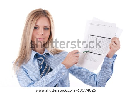 Blond girl in a blue shirt explains the documents.