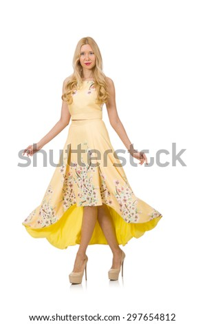Blond girl in charming dress with flower prints isolated on white - stock photo