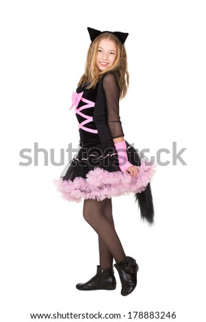 Blond girl posing in black and pink catsuit. Isolated on white - stock photo