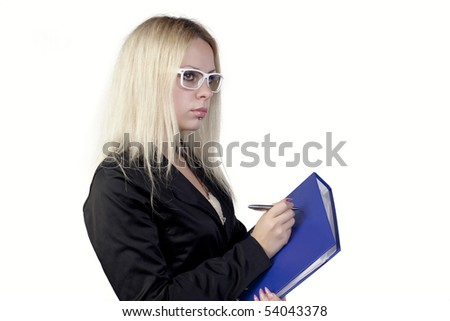 Blond girl posing on a white background - stock photo