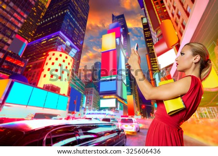 Blond girl red dress selfie photo in Times Square of New York Photomount