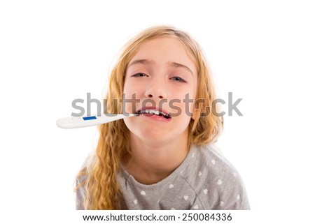 blond girl with thermometer and flu cold in pajama and funny face - stock photo