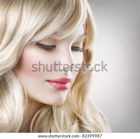 Blond Hair.Beautiful Woman Portrait.Hairstyle - stock photo