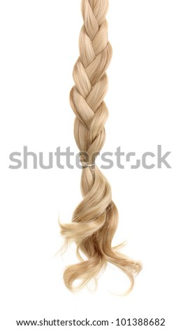 Blond hair braided in pigtail isolated on white - stock photo