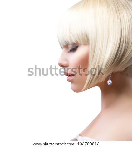 Blond Hair.Haircut. Beautiful Girl with Healthy Short Hair Isolated on a White Background. Hairstyle - stock photo