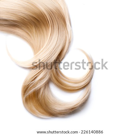 Blond Hair isolated on white. Beauty Blonde hair closeup. Lock - stock photo