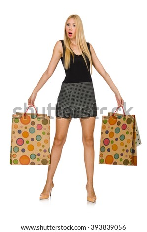 Blond hair model holding plastic bags isolated on white - stock photo