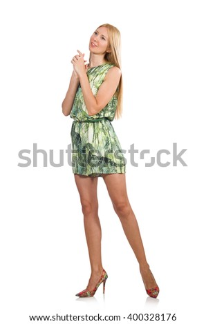 Blond hair woman wearing green short dress isolated on white - stock photo