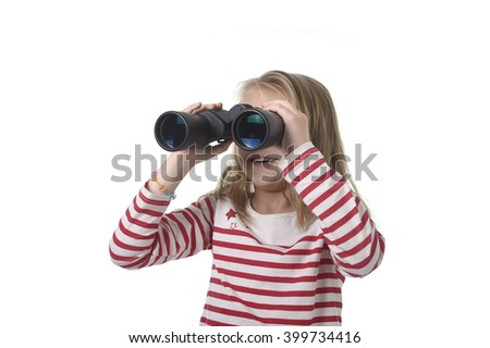 blond hair young little girl looking holding binoculars looking through observing and watching curious isolated on white background