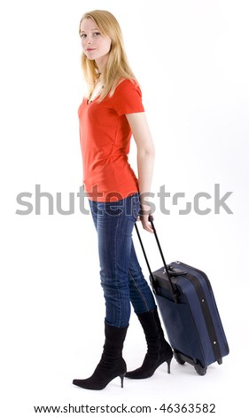 blond hair young woman in red blouse with suitcase