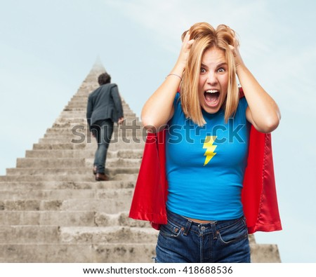blond heroin  angry expression - stock photo