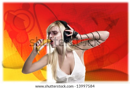 blond is singing with banana - stock photo
