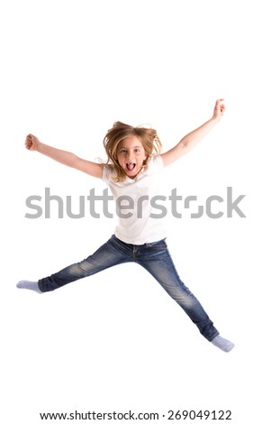 blond kid girl indented jumping high wind on hair denim jeans at white background - stock photo